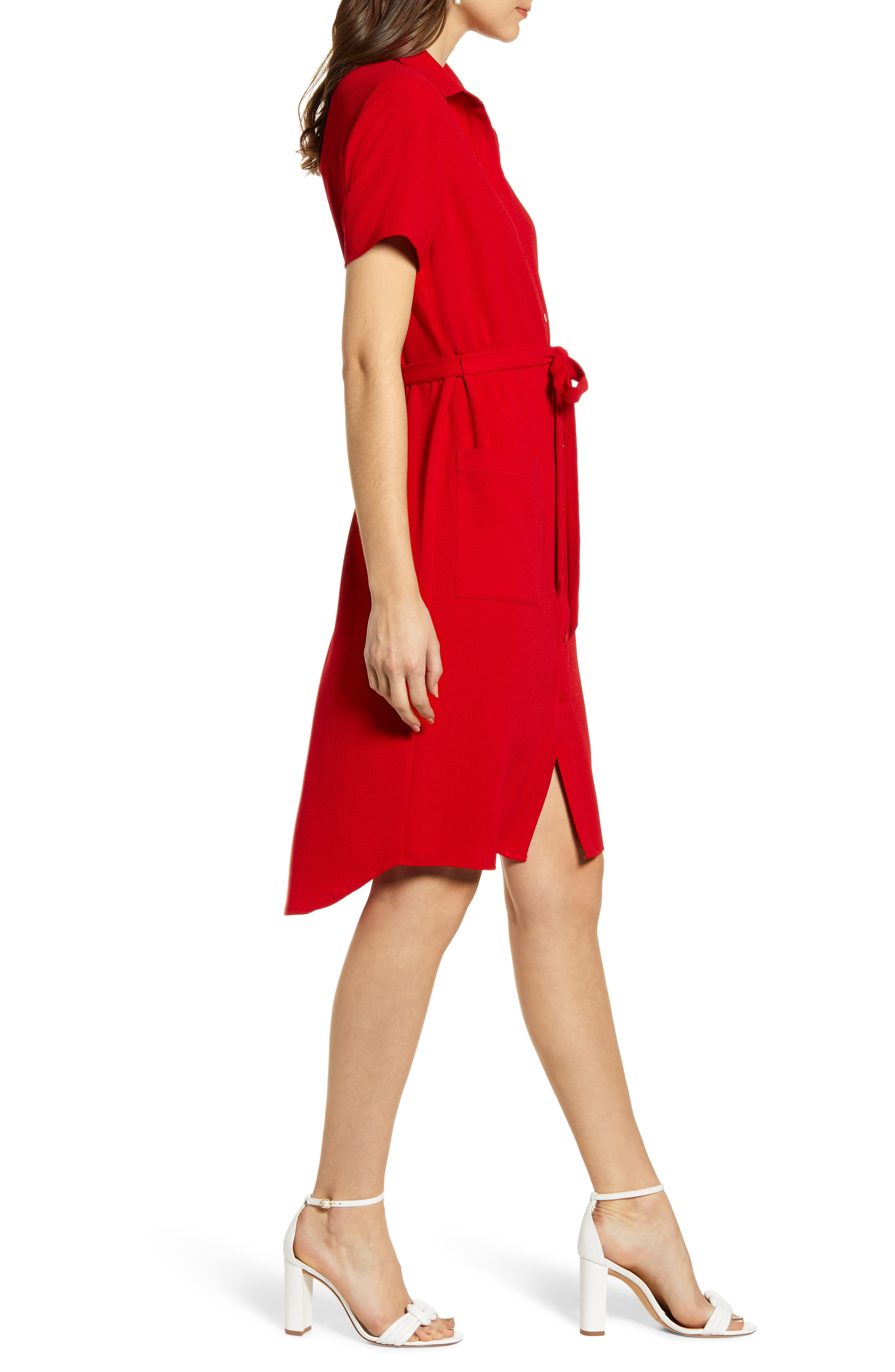 ,                             Everyday High/Low Shirt Dress,                             Alternate thumbnail 4, color,                             RED BARBADOS
