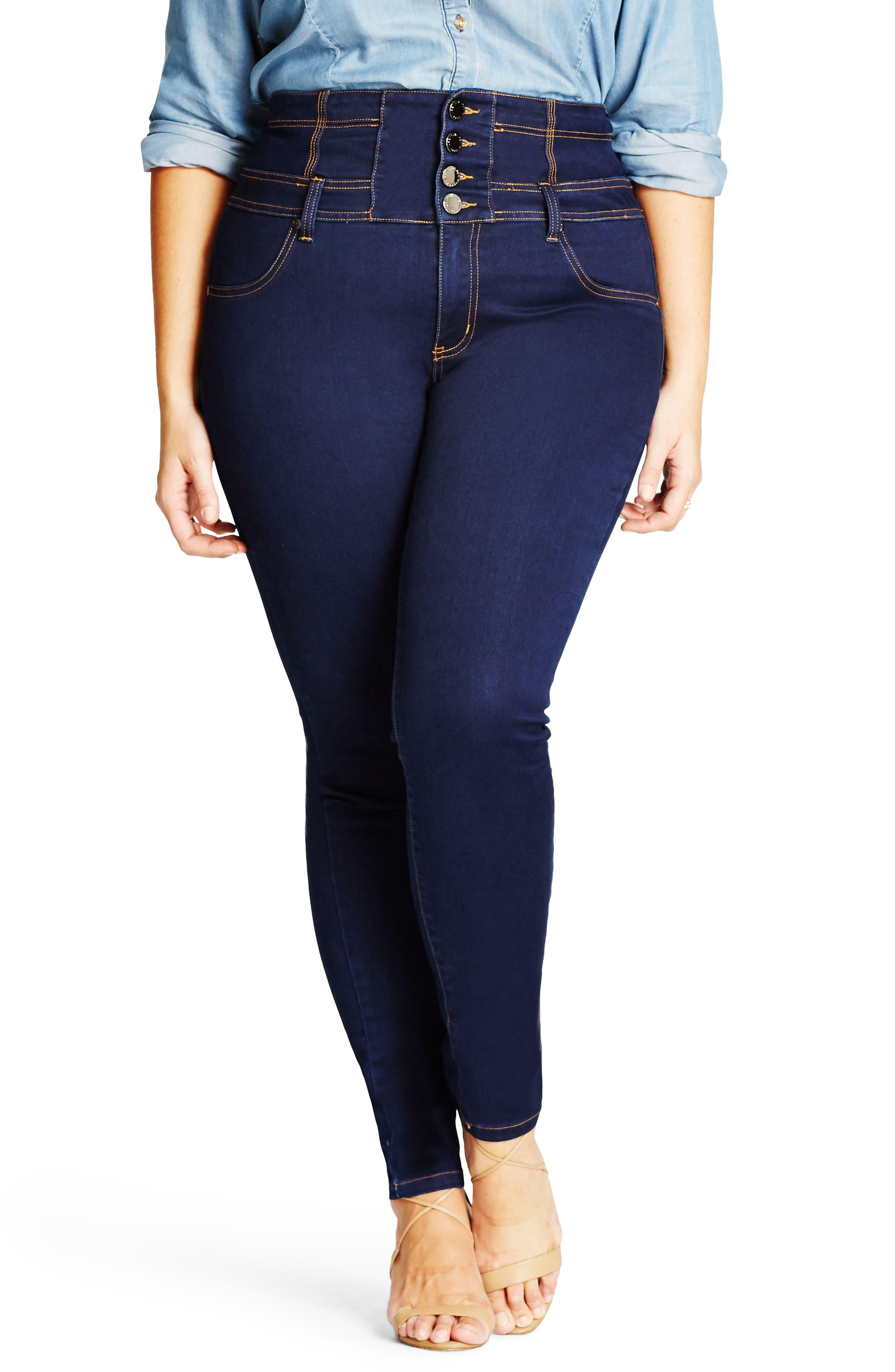 Harley Corset Waist Stretch Skinny Jeans, Main, color, DARK DENIM