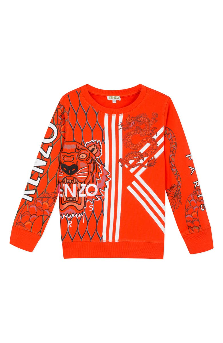 KENZO Dragon Graphic Sweatshirt, Main, color, DARK RED