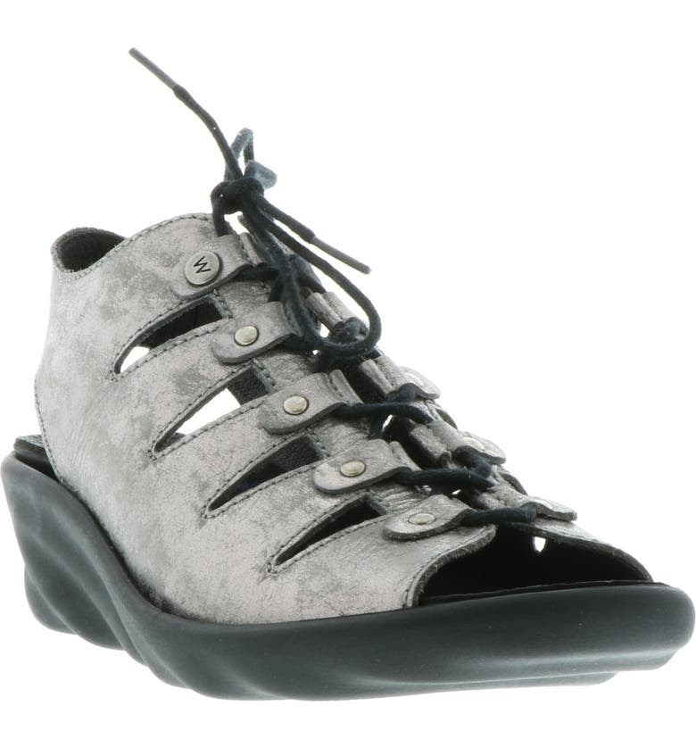 WOLKY Arena Wedge Sandal, Main, color, LIGHT GREY NUBUCK