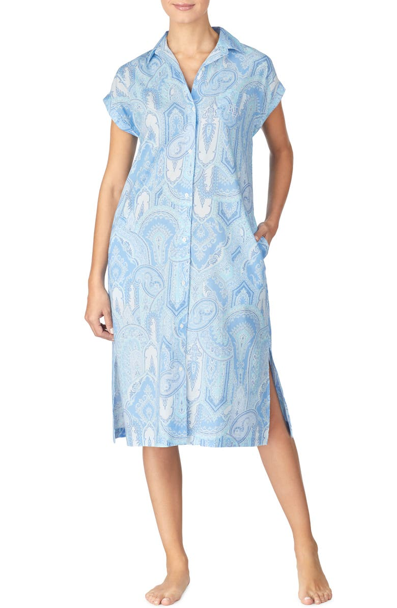 LAUREN RALPH LAUREN Paisley Ballet Sleep Shirt, Main, color, BLUE PAISLEY