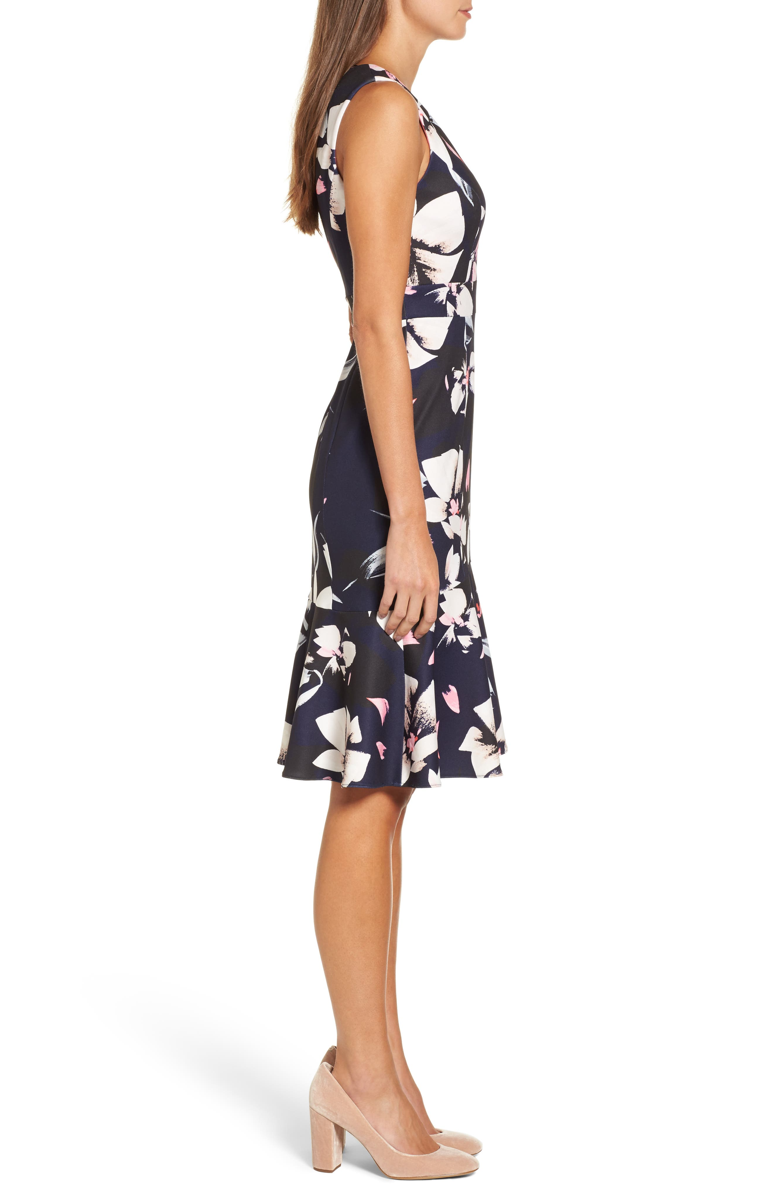 ,                             Stretch Fit & Flare Dress,                             Alternate thumbnail 4, color,                             400
