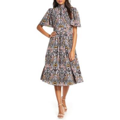 Julia Jordan Ruffle Neck Flutter Sleeve A-Line Dress, Black