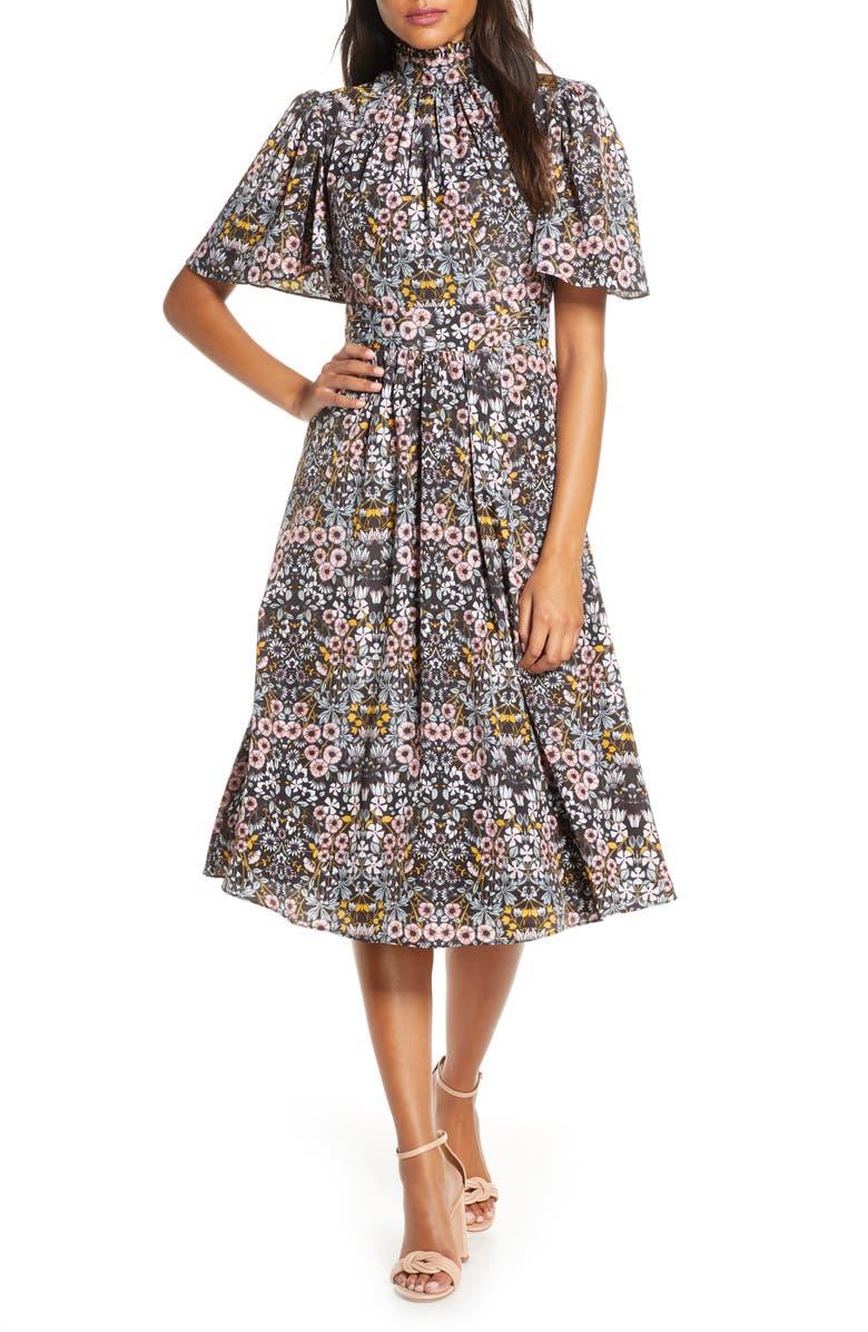 JULIA JORDAN Ruffle Neck Flutter Sleeve A-Line Dress, Main, color, 001