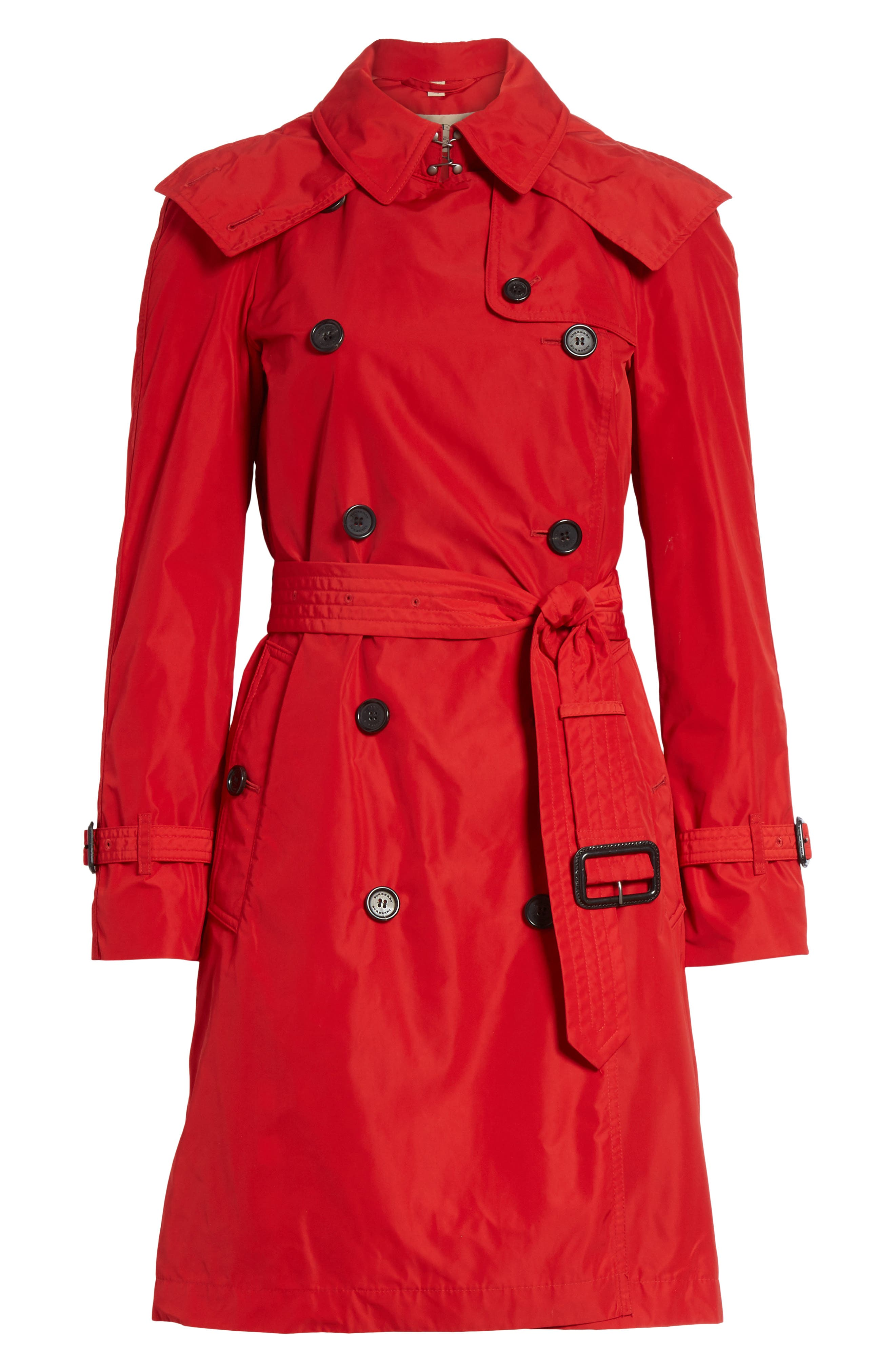 ,                             Amberford Taffeta Trench Coat with Detachable Hood,                             Alternate thumbnail 6, color,                             MILITARY RED