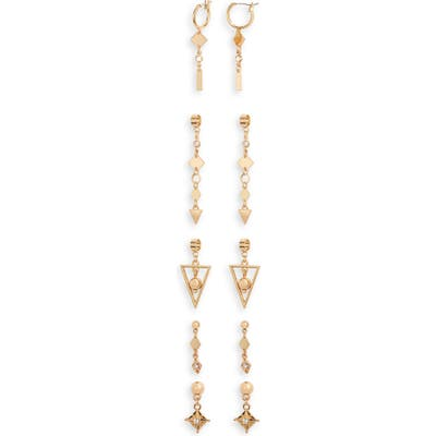 Ettika Set Of 5 Geometric Drop Earrings