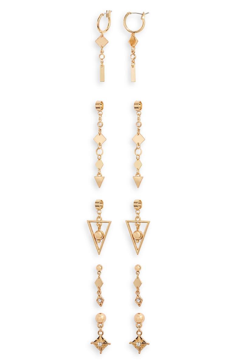 ETTIKA Set of 5 Geometric Drop Earrings, Main, color, GOLD