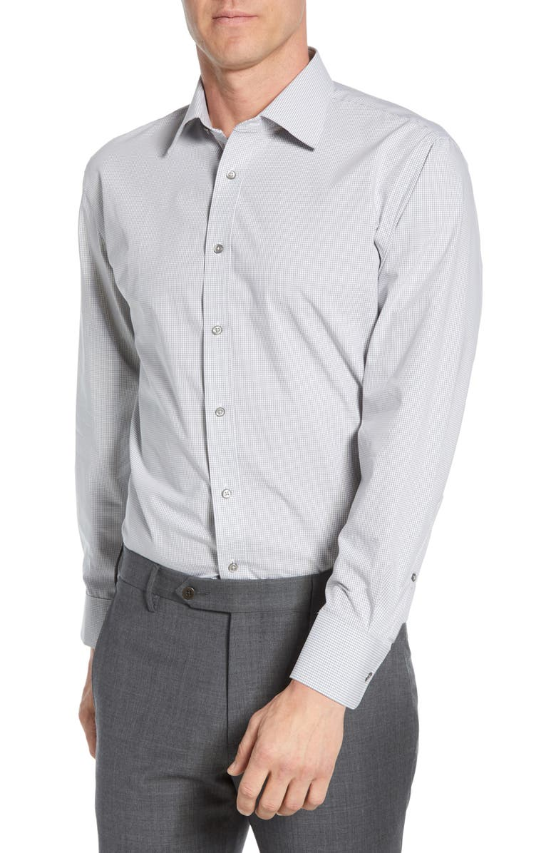 NORDSTROM MEN'S SHOP Tech-Smart Traditional Fit Stretch Check Dress Shirt, Main, color, GREY SLEET