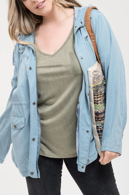 Image of Perch by Blu Pepper Chambray Hooded Jacket