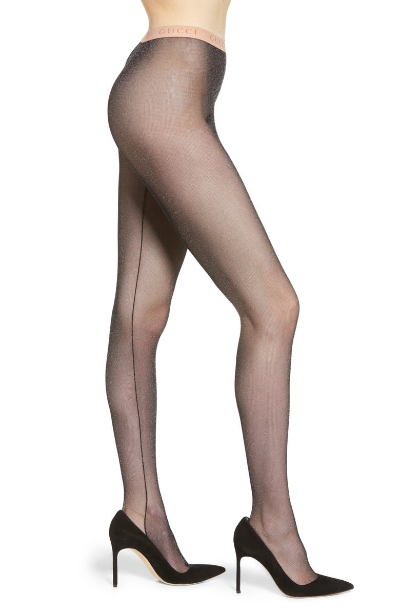 GUCCI Metallic Tights, Main, color, BLACK/ LIGHT GREY