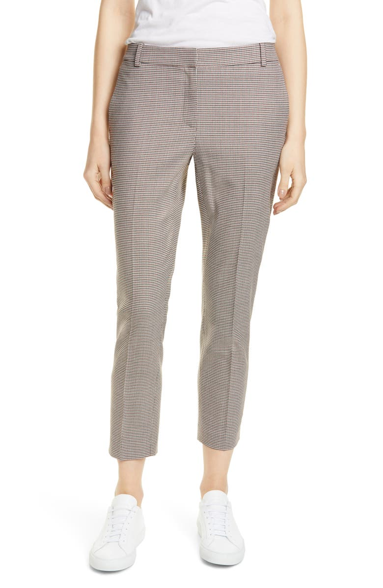 NORDSTROM SIGNATURE Slim Leg Pants, Main, color, NAVY COUTURE HOUNDSTOOTH
