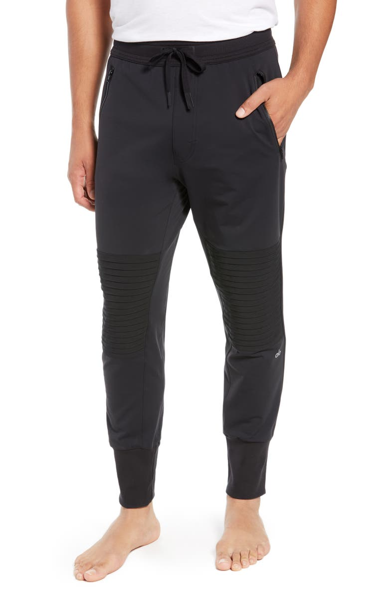 ALO Technical Slim Fit Moto Joggers, Main, color, BLACK