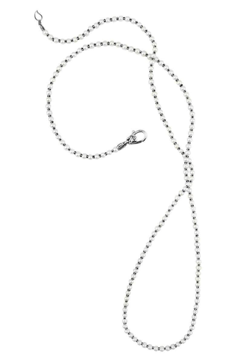 LAGOS 'Luna' Long Micro Bead & Pearl Necklace, Main, color, SILVER/ PEARL