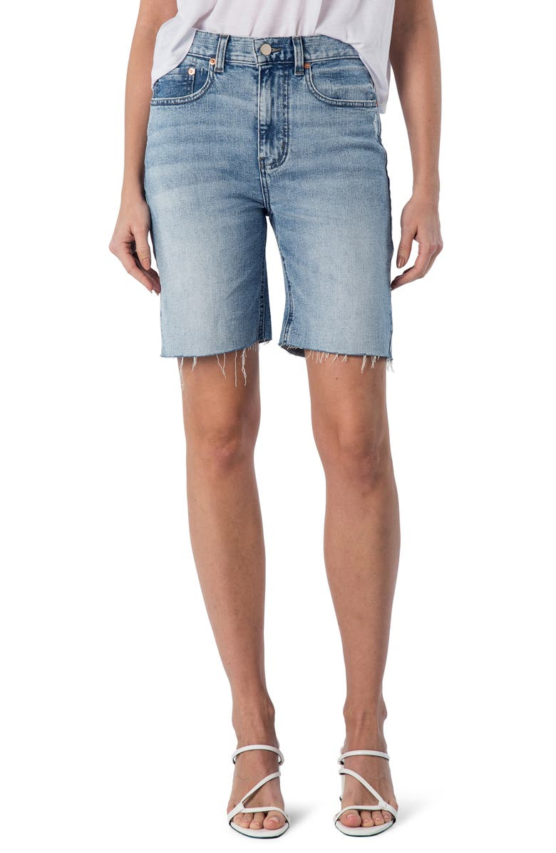 MODERN AMERICAN La Brea High Waist Denim Shorts, Main, color, COSMO