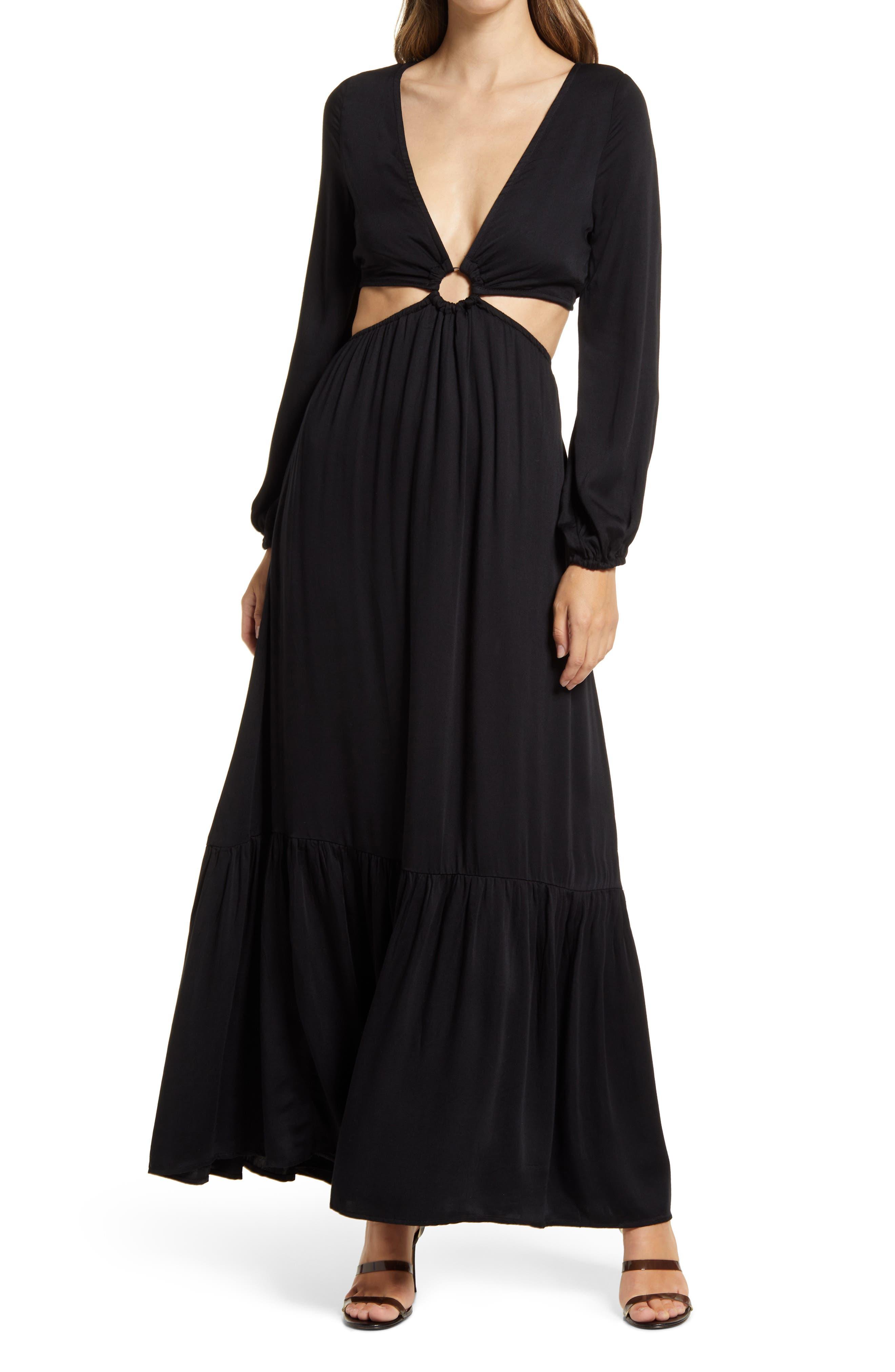 Plunge Neck Cutout Waist Long Sleeve Maxi Dress
