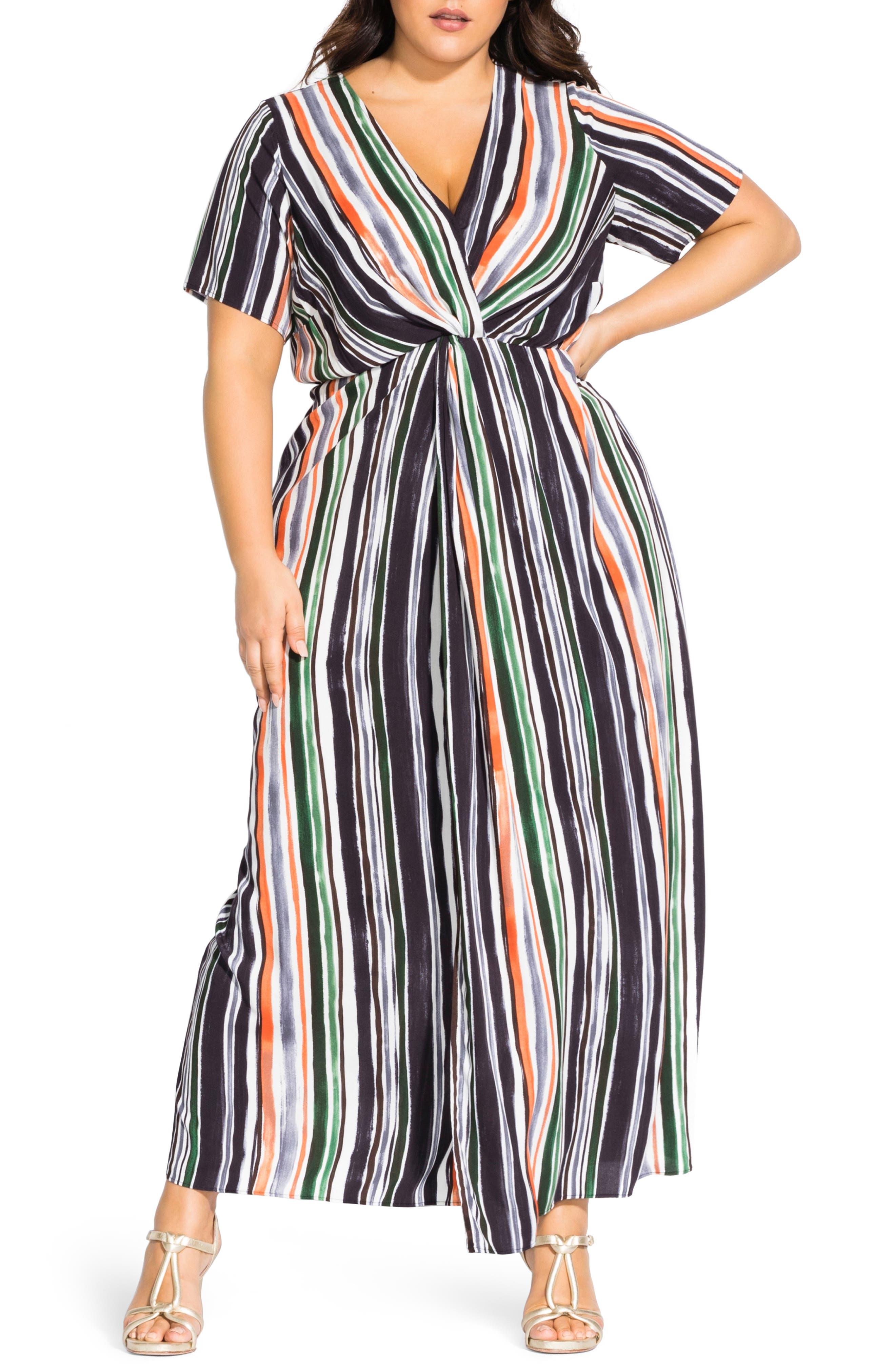 Plus Size City Chic Stripe Short Sleeve Maxi Dress, None