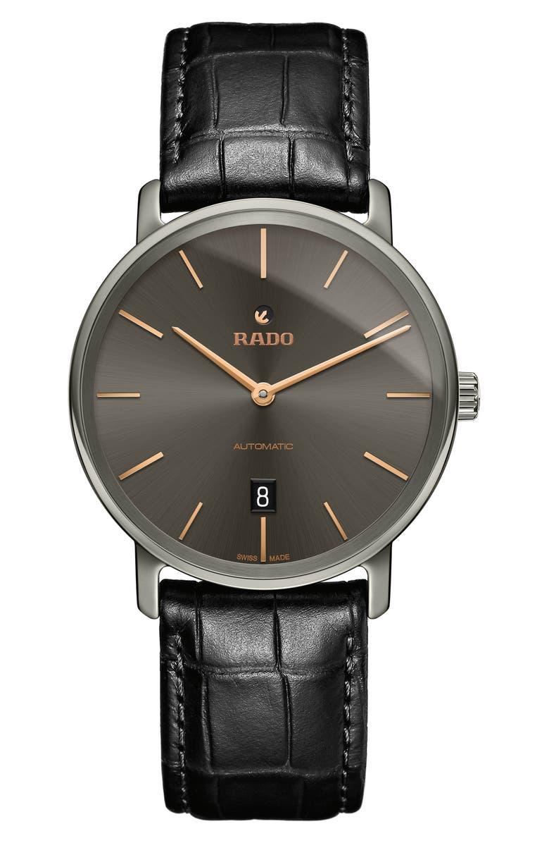RADO DiaMaster Automatic Leather Strap Watch, 41mm, Main, color, BLACK/ GREY/ SILVER