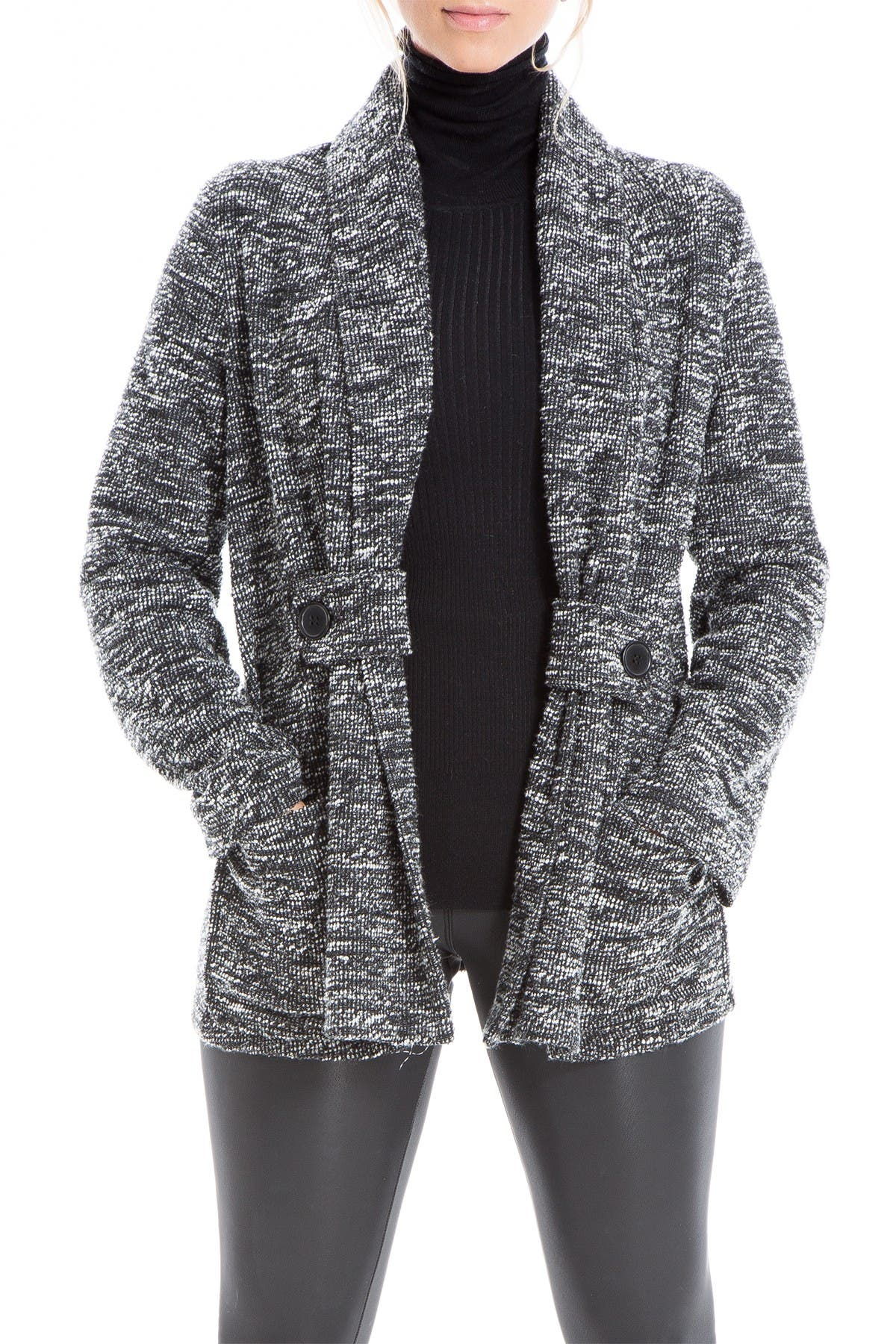 Image of Max Studio Marled Shawl Collar Button Cardigan Jacket