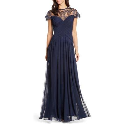 Tadashi Shoji Lace Mesh Gown, Blue