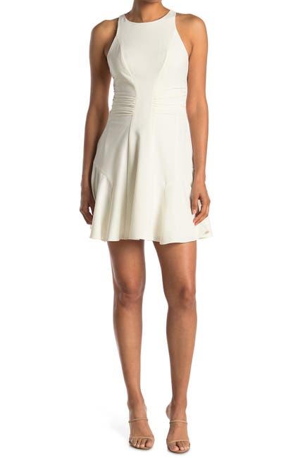 Image of HALSTON Sleeveless High Neck Ruched Dress