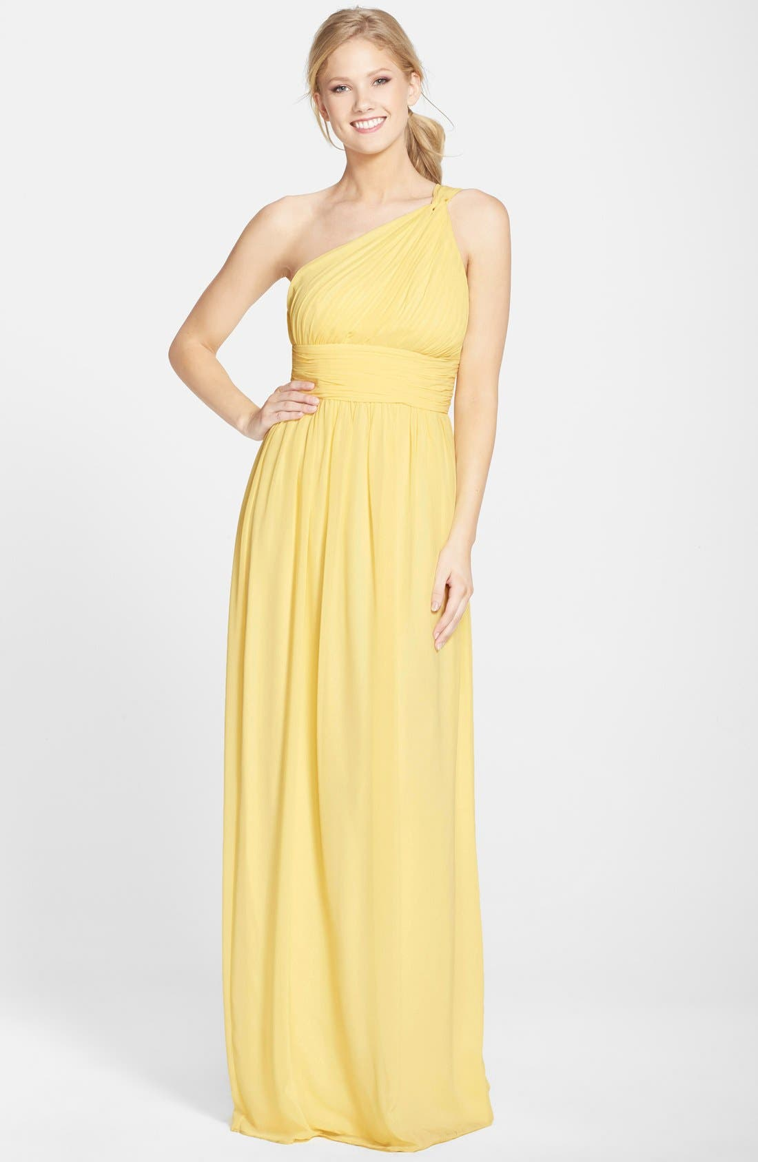 ,                             'Rachel' Ruched One-Shoulder Chiffon Gown,                             Main thumbnail 122, color,                             750