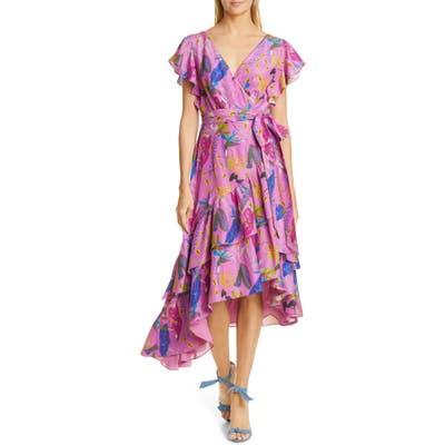Tanya Taylor Dita Floral Ruffle Asymmetrical Hem Silk Dress, Purple
