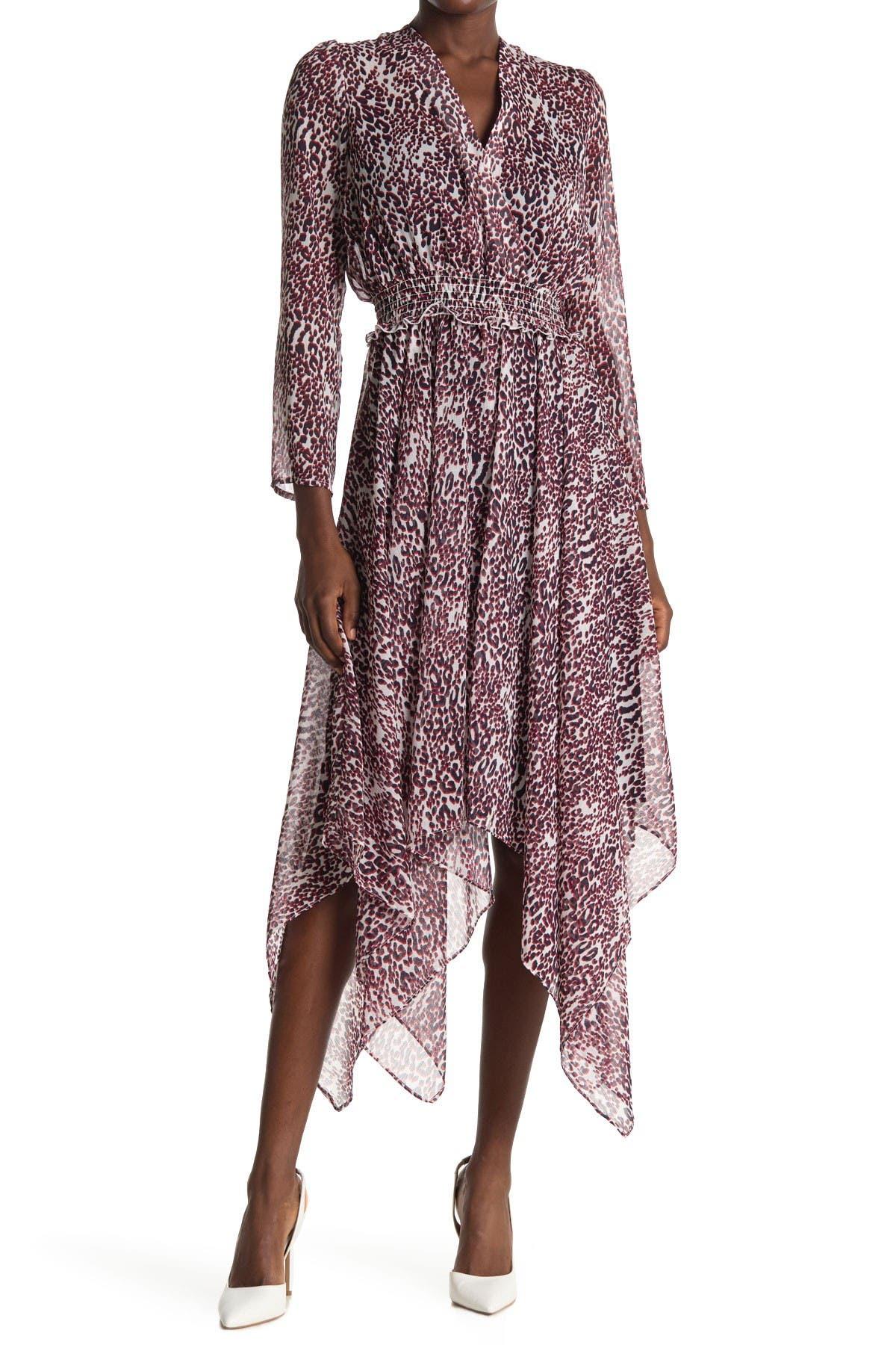 Image of Tommy Hilfiger Leopard Print Handkerchief Hem Midi Dress