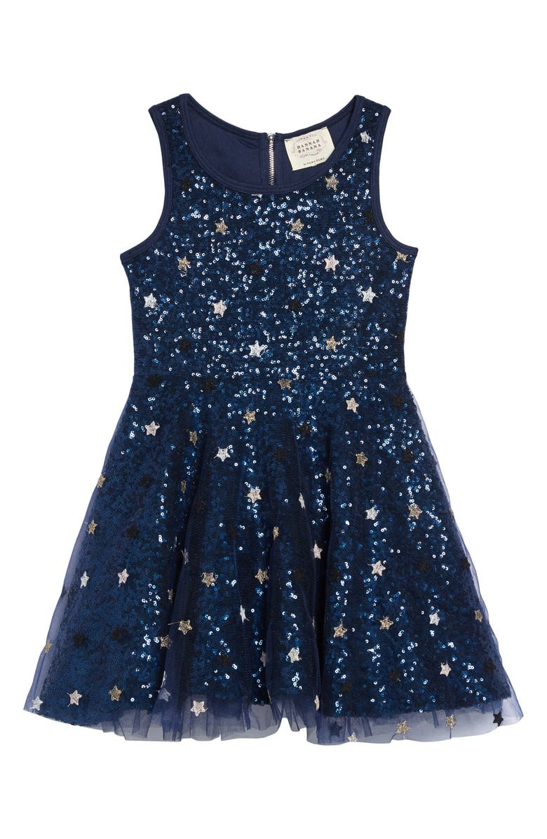 HANNAH BANANA Sequin & Star Fit & Flare Dress, Main, color, BLUE