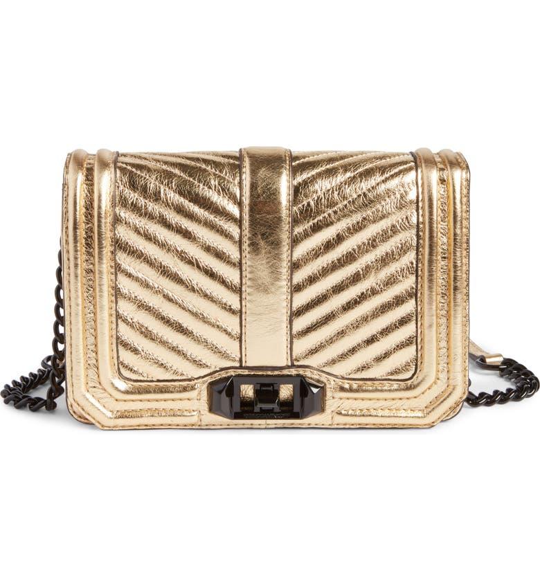 REBECCA MINKOFF Small Love Metallic Leather Crossbody Bag, Main, color, 710