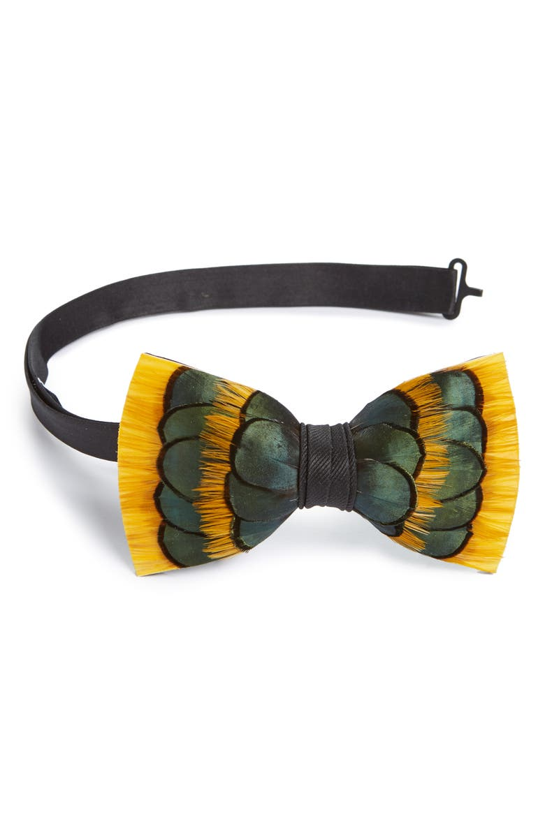 BRACKISH & BELL Dandelion Feather Bow Tie, Main, color, BLUE/ GREEN/ YELLOW
