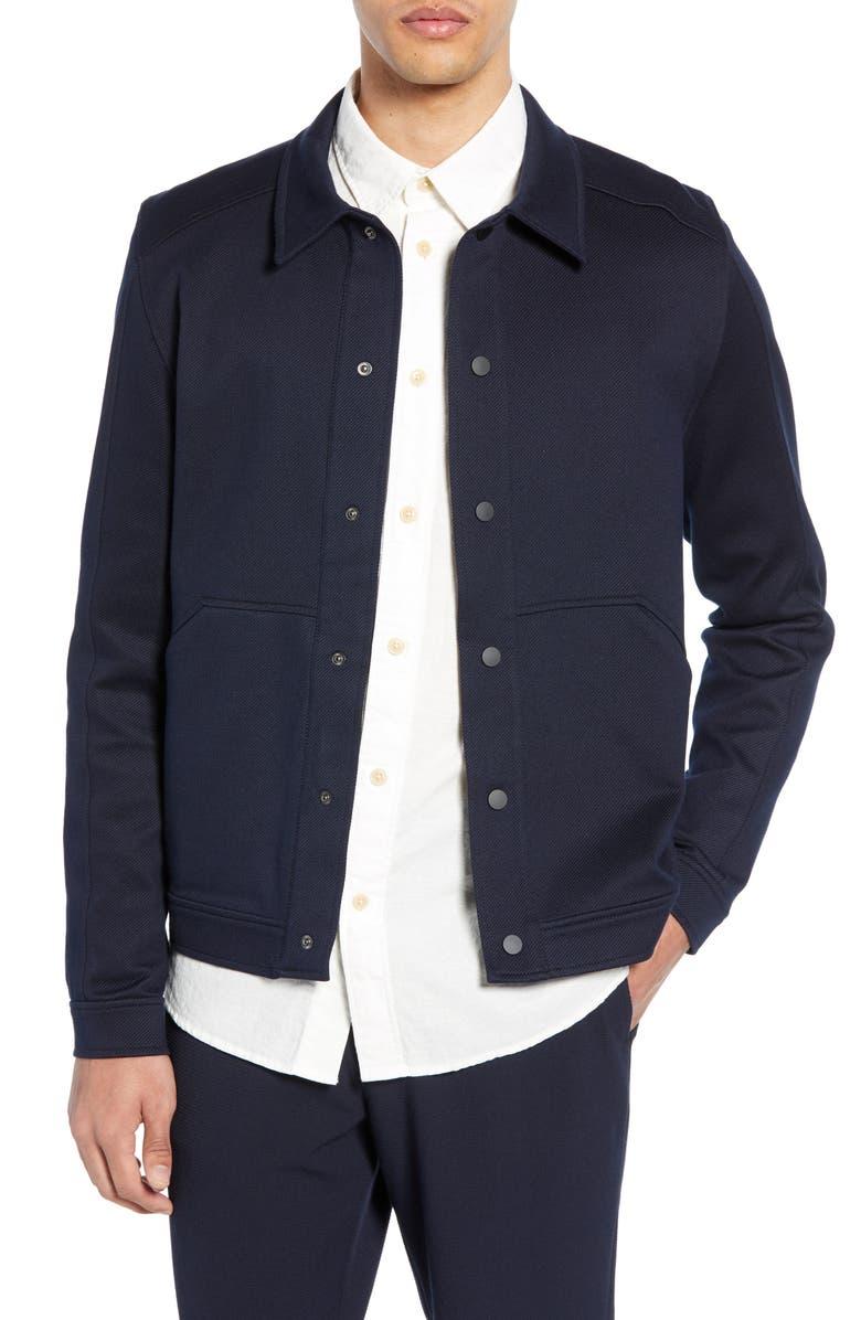 SELECTED HOMME Matt Knit Shirt Jacket, Main, color, 001