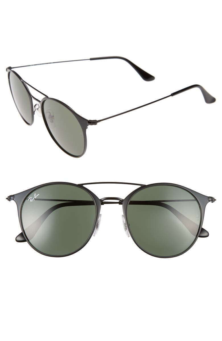 RAY-BAN Highstreet 52mm Round Brow Bar Sunglasses, Main, color, 001