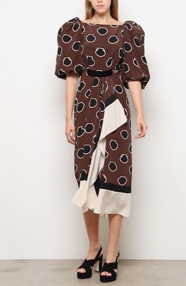 Full Sleeve Silk Crêpe de Chine Midi Dress, video thumbnail