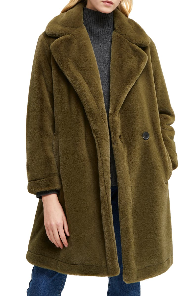 FRENCH CONNECTION Buona Faux Fur Coat, Main, color, LODEN GREEN