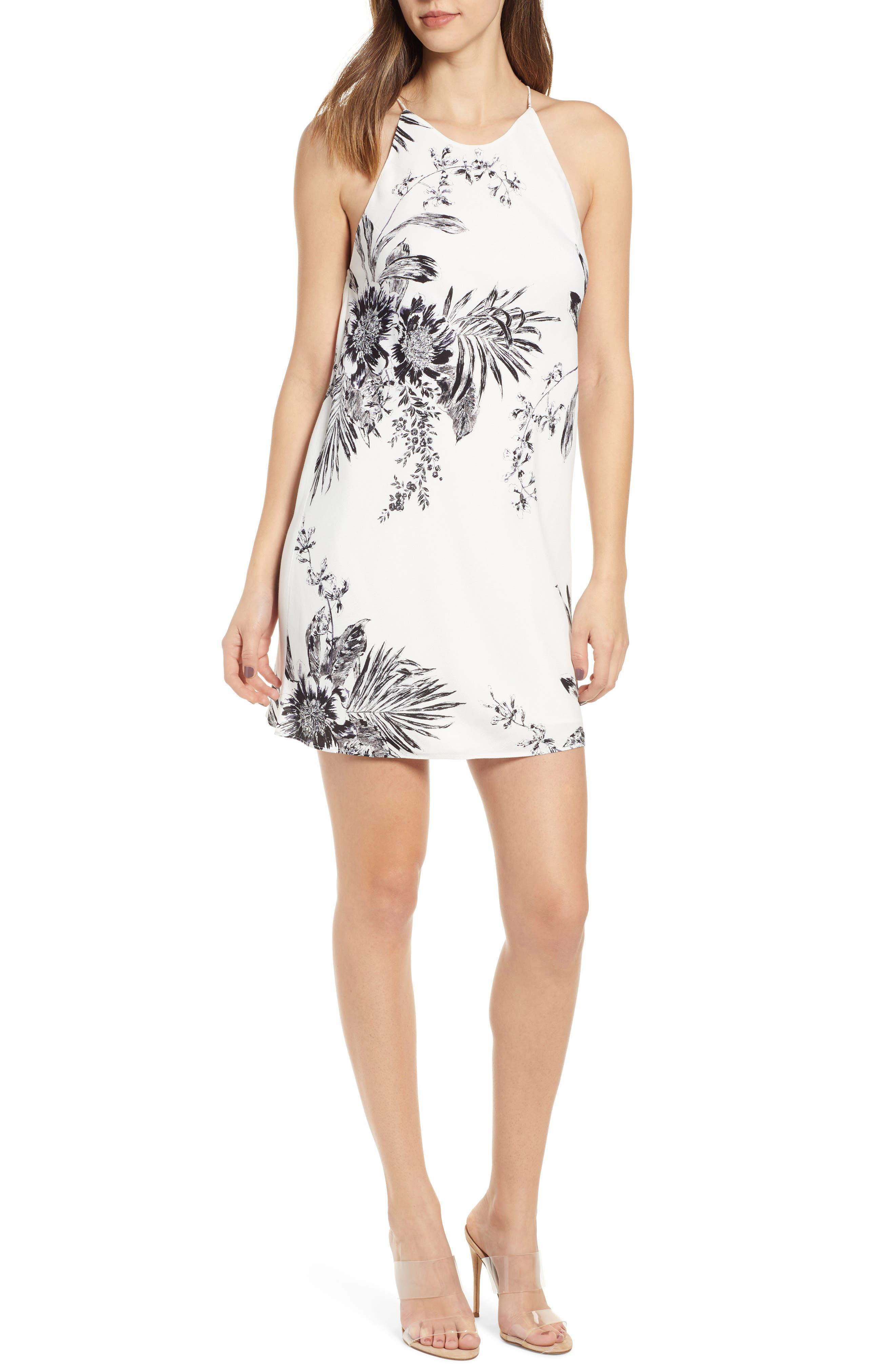 Leith Drape Back Minidress, Ivory