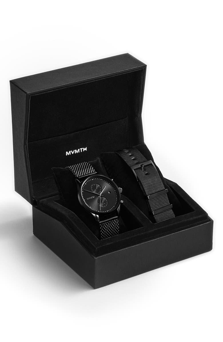 MVMT Voyager Mesh Strap Watch & Leather Strap, 42mm, Main, color, BLACK