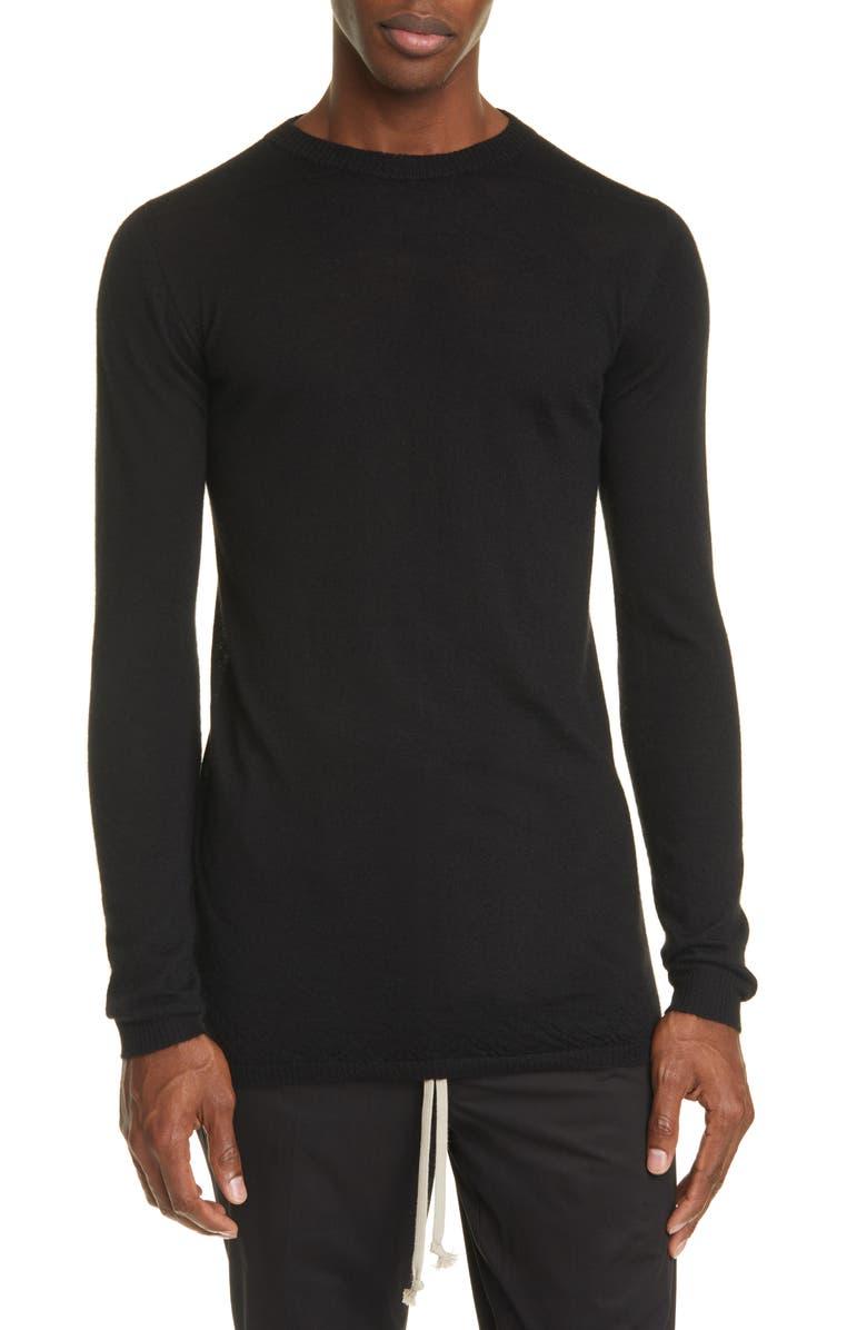 RICK OWENS Maglia Biker Crewneck Cashmere Sweater, Main, color, BLACK