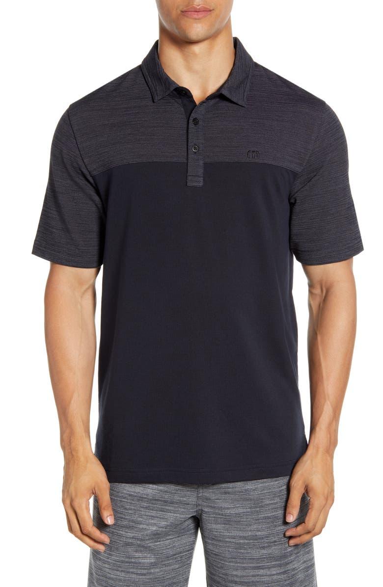 TRAVISMATHEW Regular Fit Colorblock Piqué Polo, Main, color, GREY PINSTRIPE/ BLACK