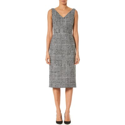 Carolina Herrera Houndstooth Wool & Silk Sheath Dress, White