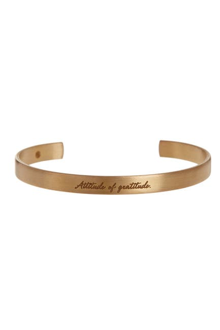 Image of Dogeared 14K Gold Plated Sterling Silver Maya Angelou Attitude of Gratitude Engraved Cuff Bracelet