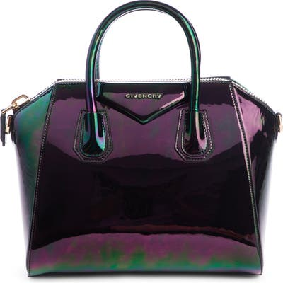 Givenchy Small Antigona Oil Slick Leather Satchel - Black