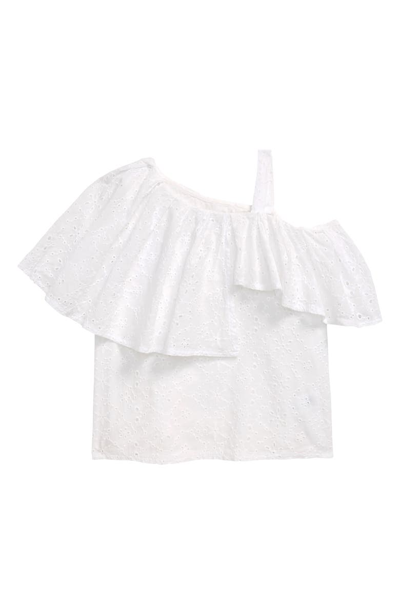 HABITUAL GIRL Habitual One-Shoulder Eyelet Top, Main, color, WHITE