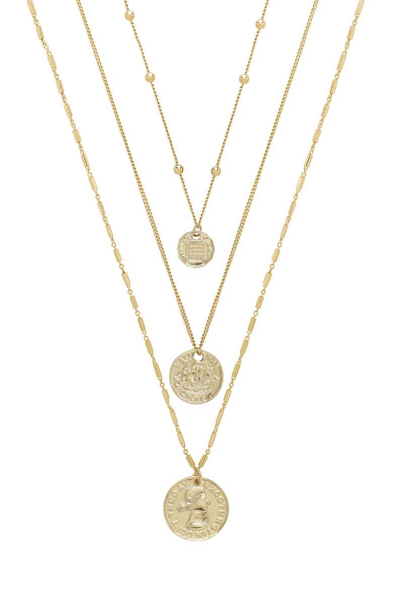 ETTIKA Set of 3 Coin Pendant Necklaces, Main, color, GOLD