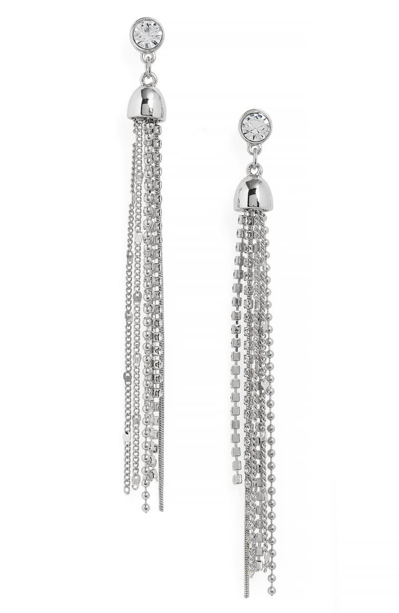 HALOGEN<SUP>®</SUP> Stud to Tassel Earrings, Main, color, CLEAR- RHODIUM