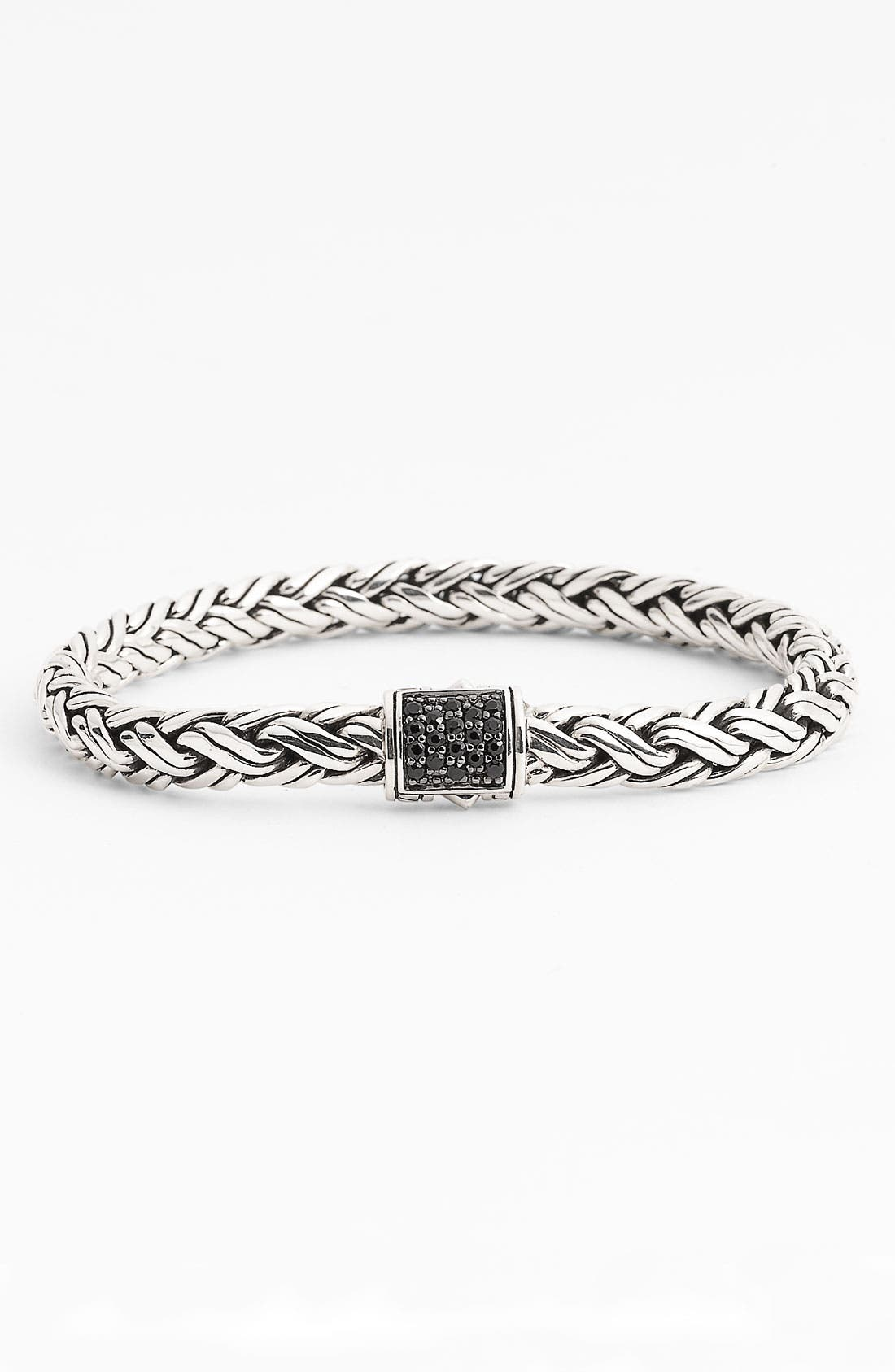 Image of JOHN HARDY Sterling Silver Pave Black Sapphire Braided Chain Bracelet