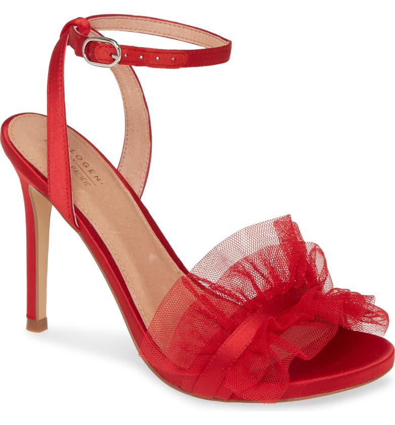 HALOGEN<SUP>®</SUP> x Atlantic-Pacific Angelle Ruffle Sandal, Main, color, RED CHILI TULLE/SATIN