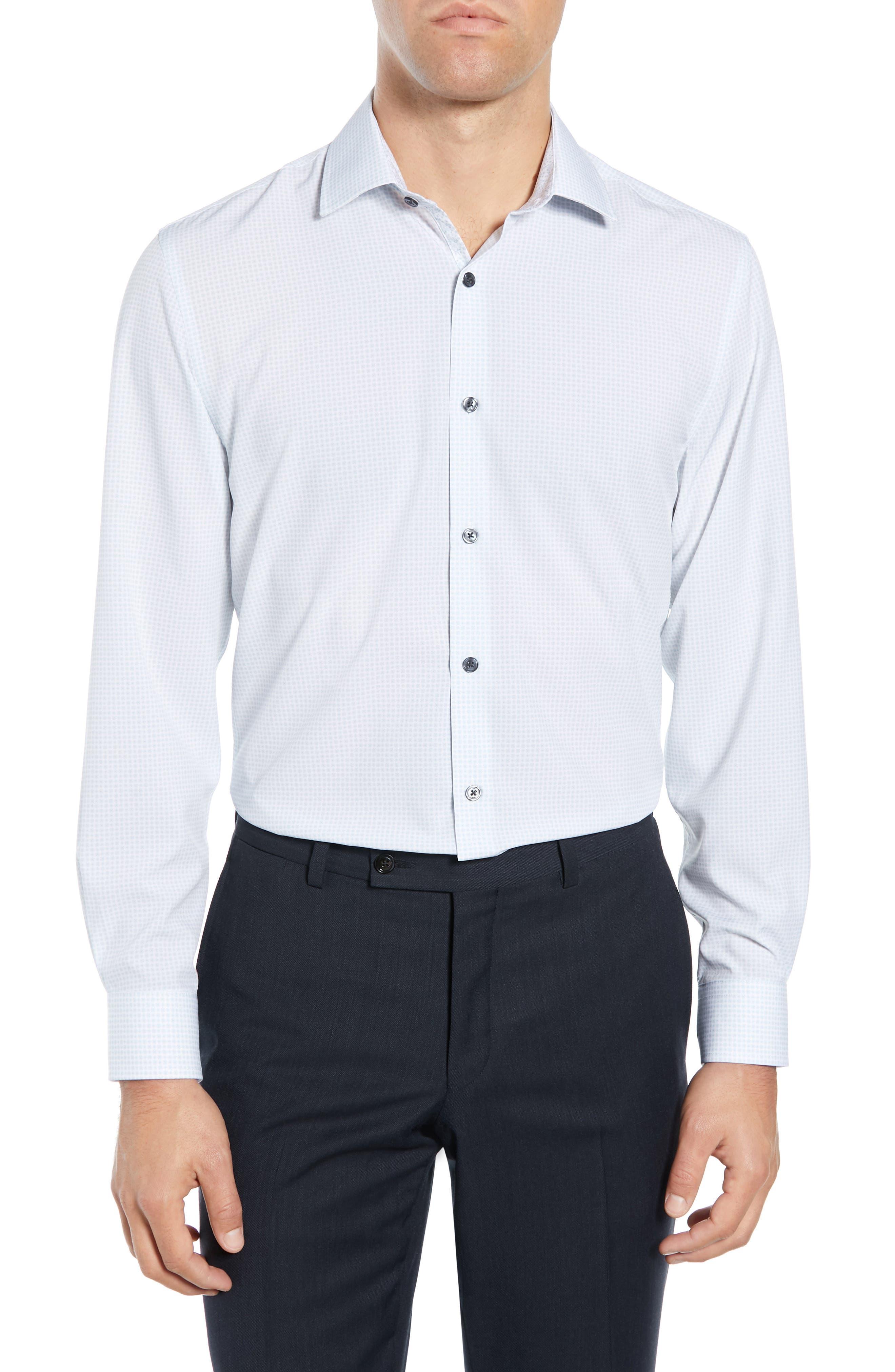 Slim Fit Performance Stretch Check Dress Shirt, Main, color, GREY