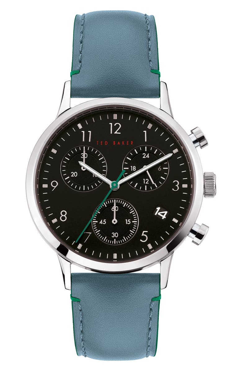 TED BAKER LONDON Cosmop Chronograph Leather Strap Watch, 40mm, Main, color, BLUE/ BLACK/ SILVER