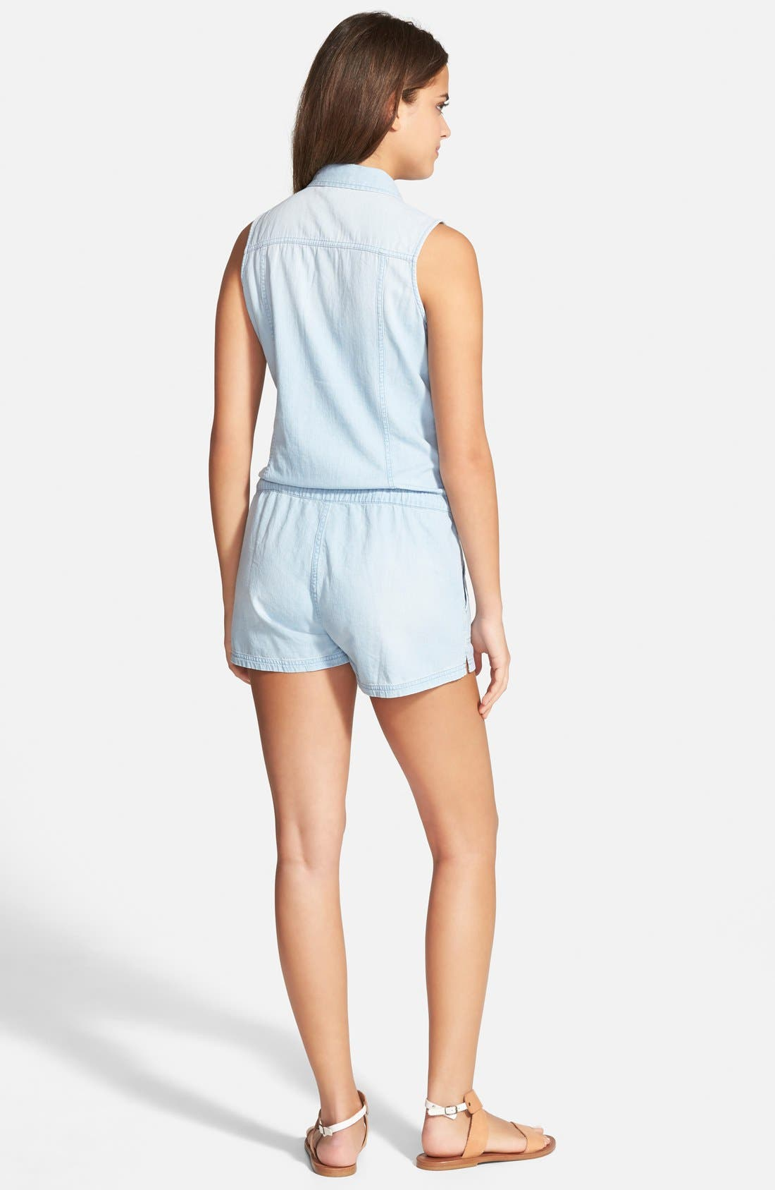 ,                             'Hollis' Chambray Romper,                             Alternate thumbnail 2, color,                             400