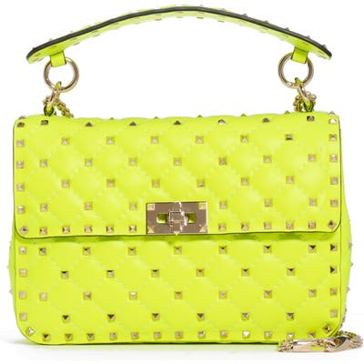 Valentino Garavani Medium Rockstud Spike Leather Shoulder Bag - Yellow